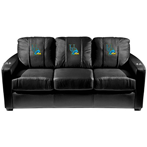 XZipit College Silver Sofa with Delaware Blue Hens Logo Panel, Black