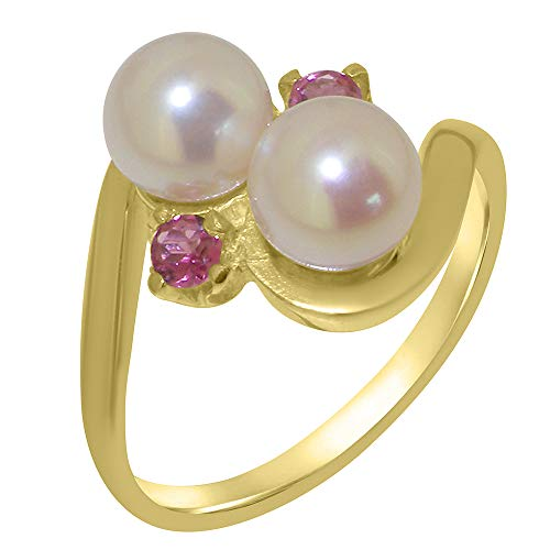 (LetsBuyGold 14k Yellow Gold Cultured Pearl & Pink Tourmaline Womens Statement Ring - Size 10.5)