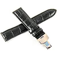 Lucien Piccard 20MM Satin Black Alligator Grain Genuine Leather Watch Strap & Silver LP Butterfly Clasp