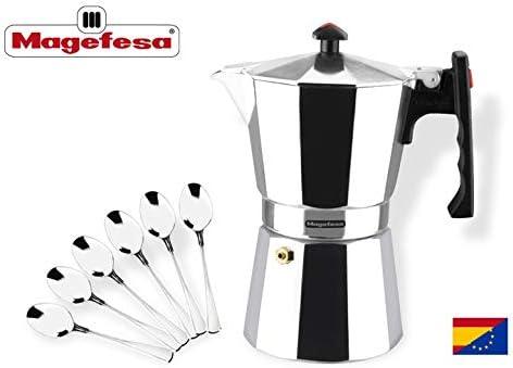 MAGEFESA Colombia – La cafetera MAGEFESA Colombia está Fabricada en Aluminio Extra Grueso. Pomo y Mangos ergonómicos de bakelita Toque Frio. (Aluminio, 6 Tazas + 6 CUCHARILLAS): Amazon.es: Hogar