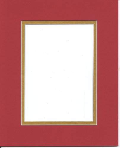 Pack of 5 11x14 Bright Red & Gold Double Picture Mats Cut for 8x10 Pictures