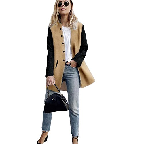 Romacci Womens Long Sleeve Button Paneled Woolen Casual Long Blazer Cardigan Jackets Coat (Blazer Coat)