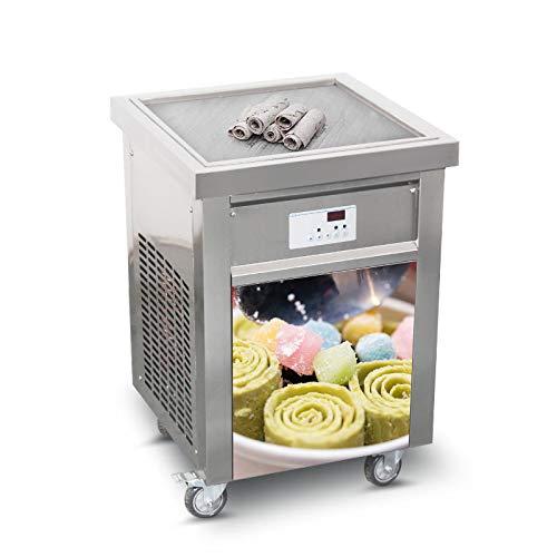 Kolice Fast Food Snack Food Equipment ETL 110V Single 5252cm Square pan Instant Fried ice Cream Machine Fry ice Cream Machine roll ice Cream Machine ice Cream Rolled Machine auto defrost