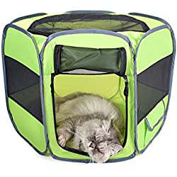 Indoor/Outdoor Pet Fence Cage The Best Sports Kennel for Your Dog, Cat, Rabbit, Puppy, Hamster Or Guinea Pig. Portable Travel. (Color : Green, Size : Small422739cm)