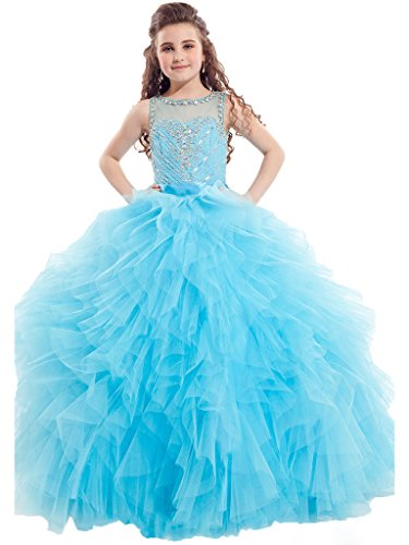 GreenBloom Girls' Scoop Illusion Neckline Hollow Rhinestones Tulle Pageant Ball Gowns Blue 8