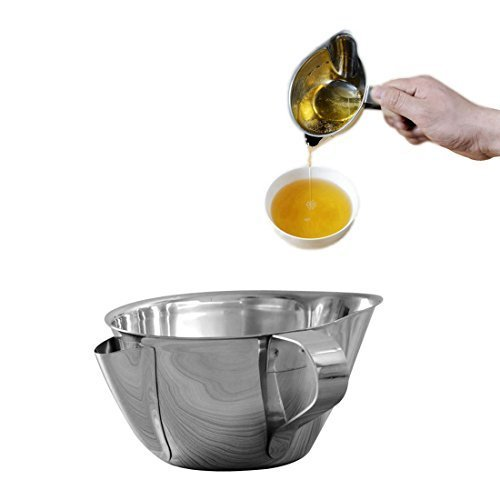 Amteker Kitchen Tools Cooking Oil Grease Trap Filter Stainless Steel Oil Fat Separator Bowl with Handle&Mouth Oil Strainer Separat Oiler
