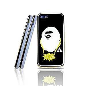 Hennas - Bape Iphone 5s Funda Case, Blazing Pattern Design Drop Protection Anti Scratch 2 In 1 Protection With Tpu Back Cover Perfect Fit Iphone 5 / 5s (Golden Border)