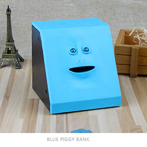 niedliche Facebank Piggy Coins Bank Geld Spardose Bank Spielzeug f/ür Kinder Dekoration Zuhause Spardose f/ür das Gesicht Panel blau