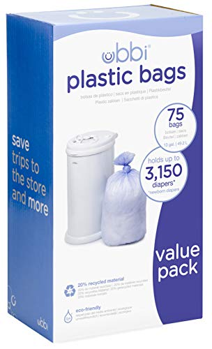 - Ubbi Disposable Diaper Pail Plastic Bags, Made with Recyclable Material, True Value Pack, 75 Count, 13-Gallon