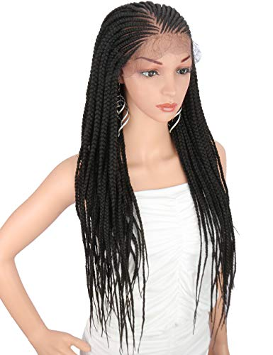 """Kalyss 28"""" Hand-Braided 13X6"""" Lace Frontal Side Part Twist Braids Wigs with Baby Hair for Black Women 100% kanekalon Black Synthetic Lightweight Hand-Tied Lace Front Box Braided Wig"""