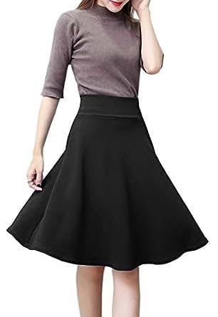 Afibi Women's Stretch Waist A-Line Flared Midi Full Skater Skirt Small Black