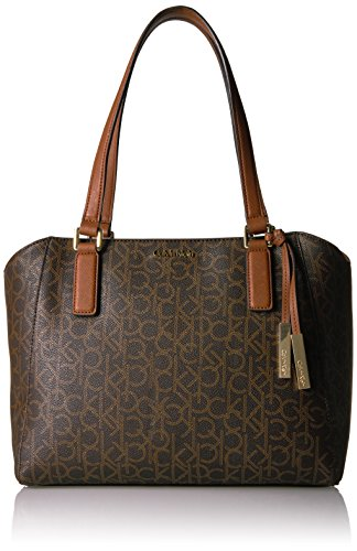 Calvin Klein Signature Top Zip Medium Tote, Brown Khk/Luggage Seafoam by Calvin Klein