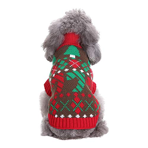 Greenery-GRE Pet Christmas Coat Costume Winter Warm Knit Dog Sweaters Jacket Holiday Festive Collections Outerwear Puppy Dog Snow Outfit Apparel ()