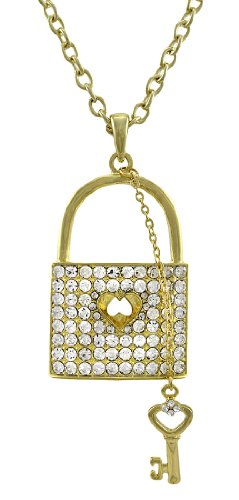 Things2die4 Metal Pendant Necklaces Gold Tone Rhinestone Lock Necklace With Key Charm 28 In. Gold