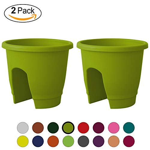 ALMI Balcony Deck Rail Planter Box with Drainage Trays, [2 Pack] Bloomers Railing Round Pot, Drainage Holes, Weatherproof Resin Planter, 12 Inch, Indoor & Outdoor, Lime Green
