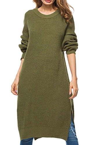 Jsyau Femmes Manches Longues Loose Côté Col Rond Fendu À Tricoter Solide Pulls Mi-longueur Robe De Couleur Vert Armée
