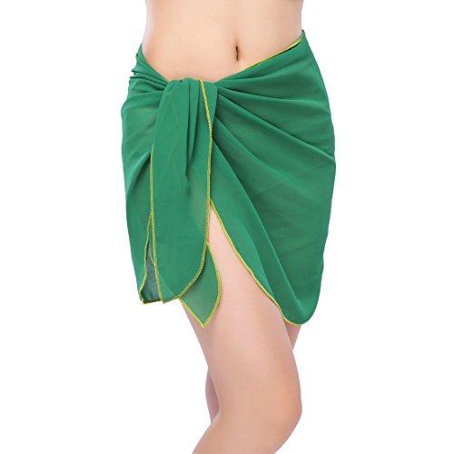 Sythyee Women's Sarong Wrap Beach Swimwear Chiffon Cover Up Short Pareo Bikini Swimsuit Wrap Skirt Bathing Suit Chiffon Deep Green (Green Chiffon Suit)