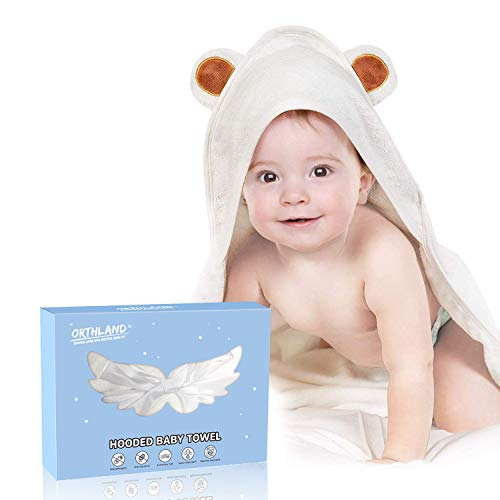 "Hooded Baby Towel - Orthland Ultra Soft Baby Towels Antibacterial and Hypoallergenic Organic Bamboo Bath Wrap with Hood (35""x35"") for Newborn and Toddler (0-5 Years Boys and Girls) Baby Registry Gift"