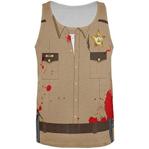 Halloween Zombie Sheriff Costume All Over Adult Tank Top - X-Large
