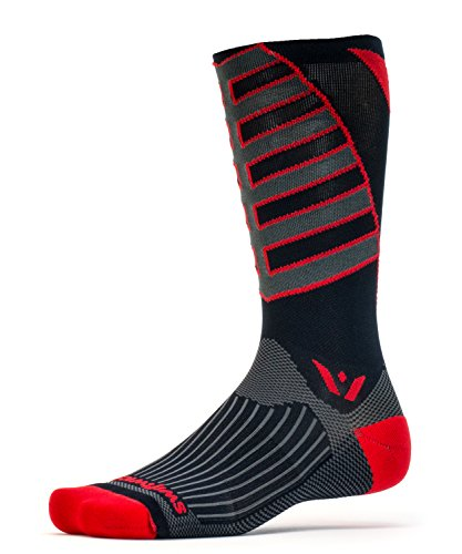 Swiftwick - VISION TEAM EIGHT, Tall Crew Socks for Cycling, Black Red, - Cycling Team Apparel