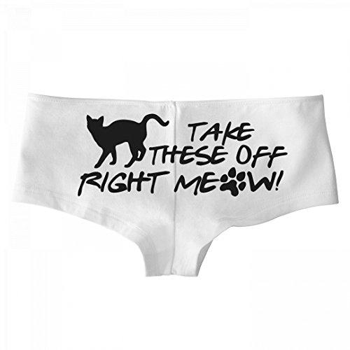 Customized Girl Right Meow Cat: Basic Bella Hotshort White Underwear - Girls Basic Panty