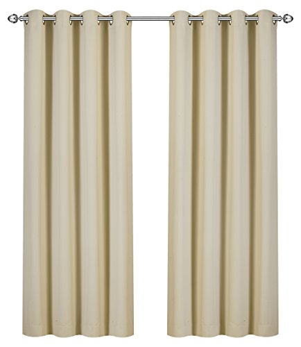 (Utopia Bedding Blackout Room Darkening and Thermal Insulating Window Curtains/Panels/Drapes - 2 Panels Set - 8 Grommets per Panel - 2 Tie Backs Included (Beige, 52 x 84 Inches with Grommets))