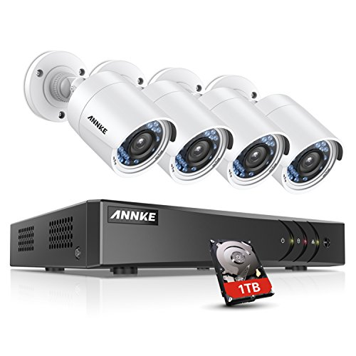 ANNKE 8 Channel Security Camera System 5-in-1 1080P lite H.264+ DVR with 1TB Surveillance Hard Disk Drive and (4) Weatherproof HD-TVI Bullet Cameras with IR-cut Night Vision LEDs, Instant email alert with images