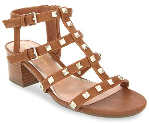 (Rampage Women's Milty Heeled Studded Dress Sandals with Studs Tanal 9 Tan)