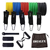 IDEALUX Resistance Tube Set, Arm Resistance Tube with Handles Stackable Exercise Bands with Carrying Bag, Foam Handles,Door Anchor Attachment, Legs Ankle Straps, for Practicing, Arm Muscles Practicin
