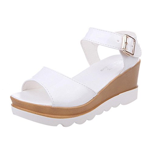 Transer Ladies Wedge Heel Sandals- Women Summer Roman Sandals Comfortable Slippers Shoes Casual White