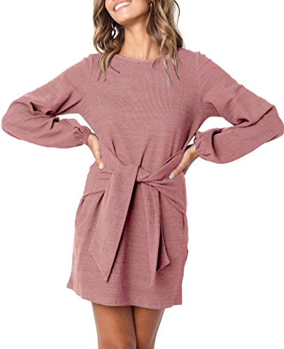 R.Vivimos Women's Autumn Winter Cotton Long Sleeves Elegant Knitted Bodycon Tie Waist Sweater Pencil Dress (Large, Pink)