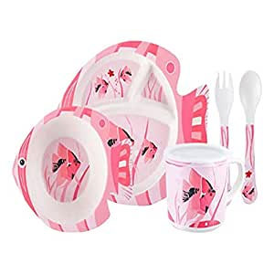 ZAD HOME Bamboo Fiber Plate, Fish Shape Style healthy,Bamboo Dinnerware 5 Pieces Sets Bamboo Fiber Children Table Ware
