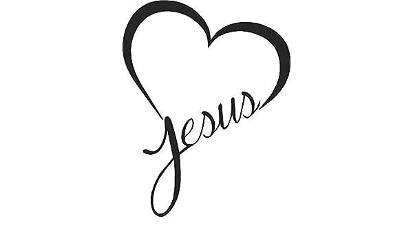 JESUS HEART Vinyl Decal Sticker Car Window Wall Bumper God Love Christ Bible