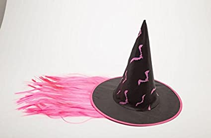 KEANER Special Party Decor Halloween Wig Witch Hat Performance Props Cosplay Hat_Pink