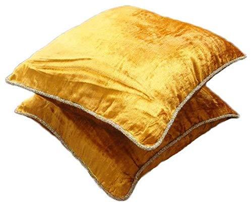 Gold Shimmer Shimmer Shimmer - european-square Ein Goldener Samt Euro Sham Kissenbezug mit handfertigtem Perlenrand B004NPVR0A Zierkissenbezüge 159664