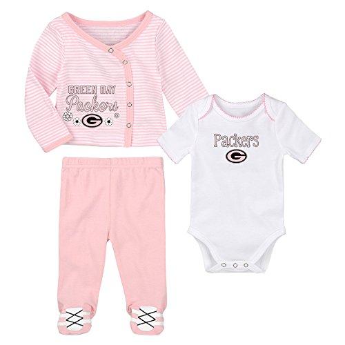 OuterStuff NFL Newborn Team Cutie 3 Piece Onesie, Shirt and Pants Set, Green Bay Packers, Pink, 9 - Piece Bay Packers Green 3