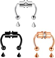 SERYNOW Fake Nose Ring Hoop Magnetic Horseshoe Rings 316L Stainless Steel Faux Septum Rings Non Piercing Clip
