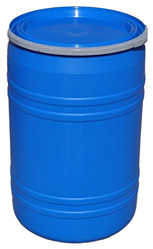 New 30 Gal Plastic Drum Open Top Blue.- Lever Lock Ring Top
