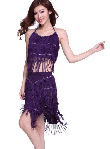 ZLTdream Women's Diamond Tassel Latin Dance Top And Skirt 2PCS/Set Purple by ZLTdream