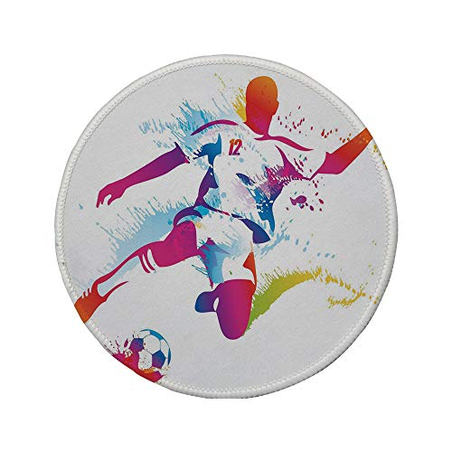 Non-Slip Rubber Round Mouse Pad,Teen Room Decor,Soccer Player Kicks The Ball Watercolor Style Spray Championship Image,Multicolor,7.87