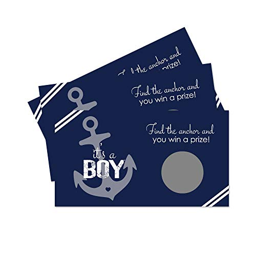 Paper Clever Party Nautical Baby Shower Scratch Off Game - Pack of 28 - Navy and White