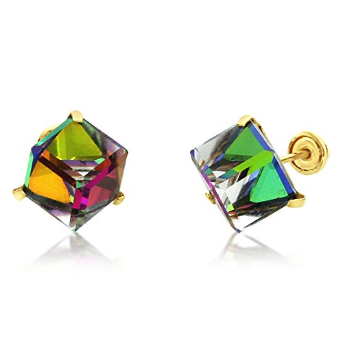 14K Yellow Gold Multi Color Crystal Cube Stud Earrings Screwback (Available 5mm, 6mm), 6 ()