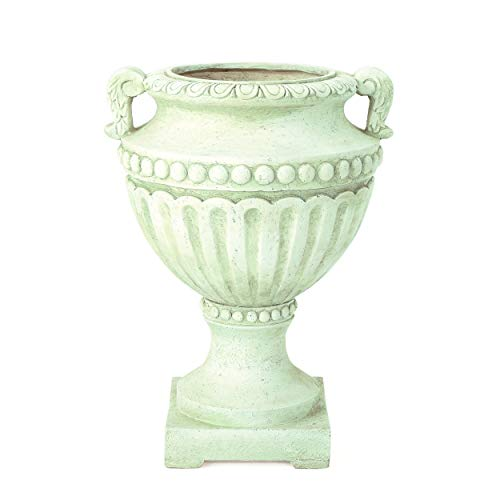 Great Deal Furniture 304071 Alice Outdoor White Moss Finish Light Weight Concrete Urn