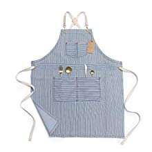 Jeanerlor Blue Striped Denim Aprons for Women and Men - Jean cross back apron adjustable neck unisex with Four Pockets for Barista, Chef, Barber, Painter and Gardener, Adjustable M to XXL