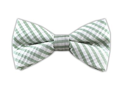 The Tie Bar 100% Woven Silk Seersucker Stripe Spring Mint Self-Tie Bow Tie -