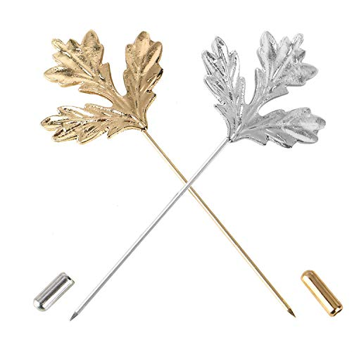 Vintage Leaf Brooch Pin - Monrocco 2PCS Men Metal Maple Leaf Brooch Stick Pin Vintage Lapel Stick Pin Suit Tie Brooch Badge