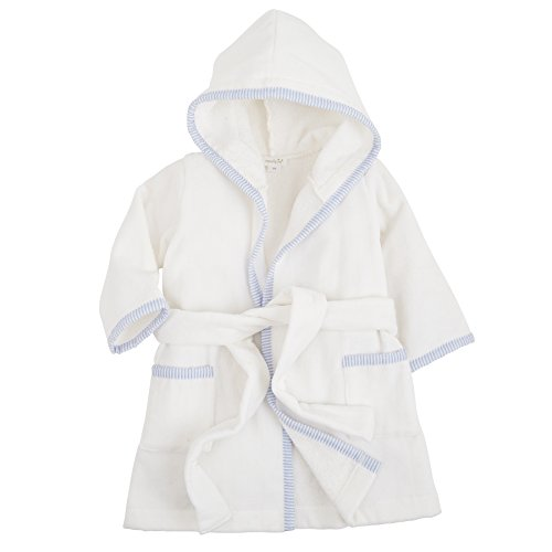 Mud Pie Seersucker Terry Cloth Hooded Robe, Blue (Toys Cloth Terry)