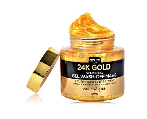 24K Gold Luxury Sparkling Gel Wash Off Firming Mask – Removes Blackheads, Dirt & Oils | Firms & Rejuvenates | Wrinkle, Fine Line & Acne Scar Reducing – 150ml