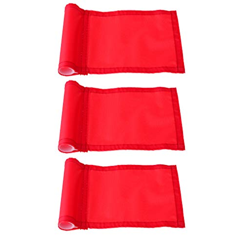 DYNWAVE 3 Pieces Standard Nylon Training Golf Putting Practice Green Flag, Backyard Practice Putting Green Flag - Red - Standard Flag Golf Golf
