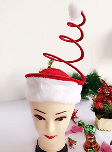 [Funny Santa Coil Hat--Christmas Party High - end Fashion Cartoon Personal Cap with Coil Spring] (Turban And Beard Costume)